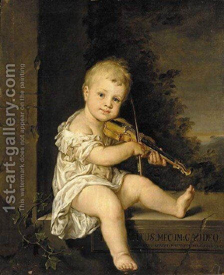 Portrait of the artist's son playing the violin, seated on a stone ledge in a landscape by Barbara Krafft - Reproduction Oil Painting