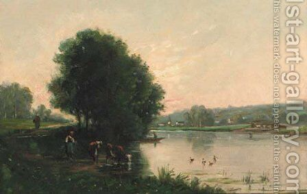 A Summer river landscape with cattle at a riverbank by Barbizon School - Reproduction Oil Painting
