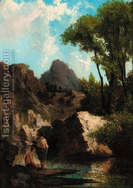 Figures beside a rocky pool by Barbzion School - Reproduction Oil Painting