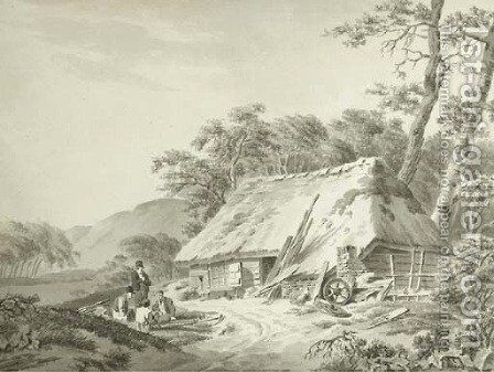 Harvesters resting near a shed by Barend Cornelis Koekkoek - Reproduction Oil Painting