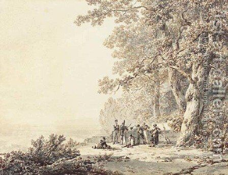 Soldiers resting by a forest by Barend Cornelis Koekkoek - Reproduction Oil Painting
