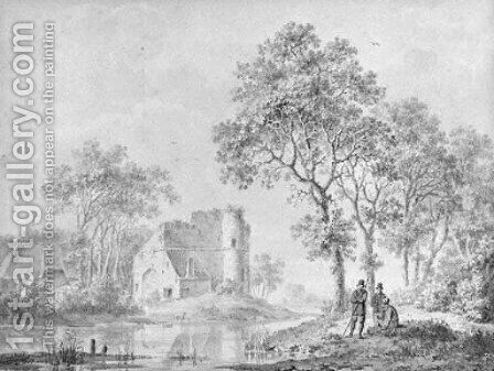Travellers resting on a riverbank, a ruined fortress in the background by Barend Cornelis Koekkoek - Reproduction Oil Painting