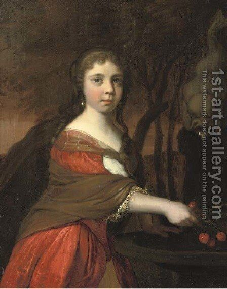 Portrait of a girl, three-quarter-length, in a red dress and brown wrap, cleaning cherries in a fountain by Barent Graat - Reproduction Oil Painting