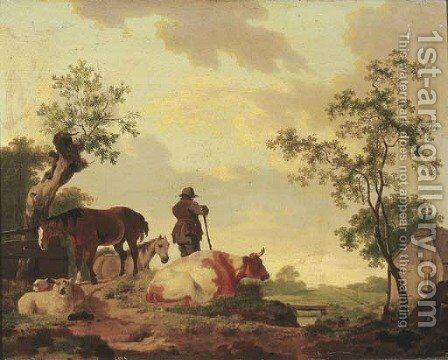 A landscape with a shepherd overlooking a river, a cow, sheep and horses nearby by Barend Hendrik Thier - Reproduction Oil Painting
