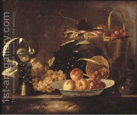 Peaches and raspberries on a dish, with grapes, a roemer, a partly-peeled lemon and a basket on a marble ledge by Barend or Bernardus van der Meer - Reproduction Oil Painting