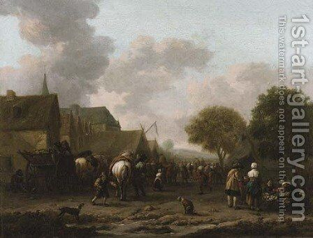 A village landscape with travellers on the street by a vegetable seller by Barent Gael - Reproduction Oil Painting