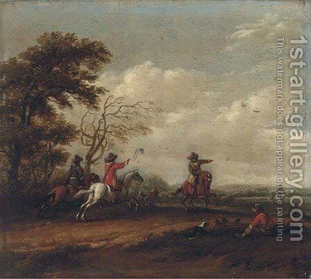 A wooded landscape with a hawking party by Barent Gael - Reproduction Oil Painting