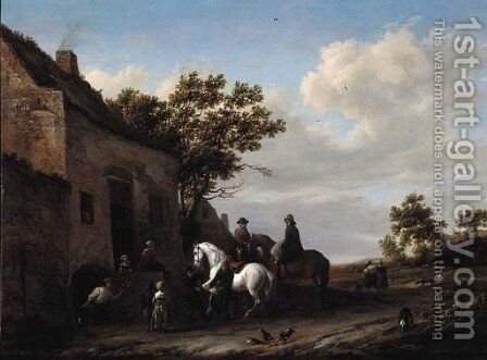 Travellers at a blacksmith's by Barent Gael - Reproduction Oil Painting