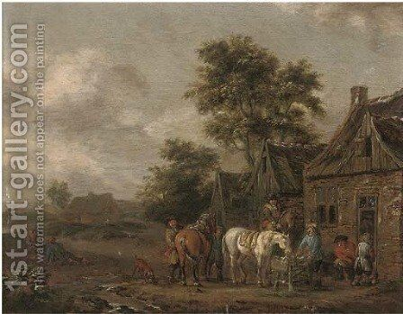 Travellers at halt by an inn by Barent Gael - Reproduction Oil Painting