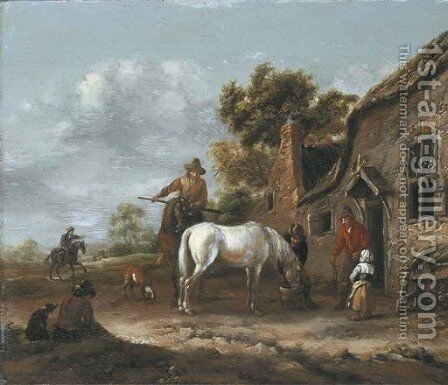 Travellers resting and watering their horses at a tavern by Barent Gael - Reproduction Oil Painting