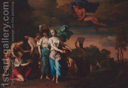 Mercury watching Pandrosus, Herse and Aglauros by Barent Graat - Reproduction Oil Painting