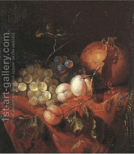 A pomegranate, grapes and peaches on a draped table by Barend or Bernardus van der Meer - Reproduction Oil Painting