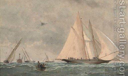 Schooners and yachts racing by Barlow Moore - Reproduction Oil Painting