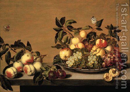 Fruit Grapes, peaches, apples and a pearon a Waanli 'kraak' porselein plate, with other fruit on a ledge by Bartholomeus Assteyn - Reproduction Oil Painting
