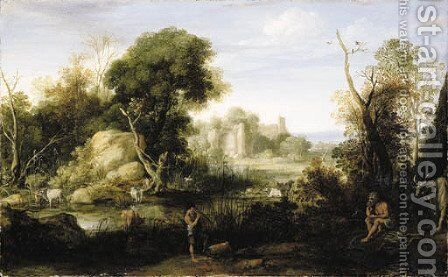 A classical landscape with Mercury and Argos by Bartholomeus Breenbergh - Reproduction Oil Painting