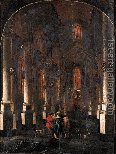 A view in a Gothic Church, with elegant townsfolk in the aisle by Bartholomeus Huybrechtsz. Lutensz. (Luyter) - Reproduction Oil Painting