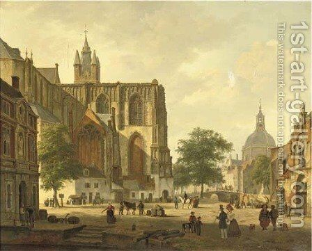 A busy Dutch city square in summer by Bartholomeus Johannes Van Hove - Reproduction Oil Painting
