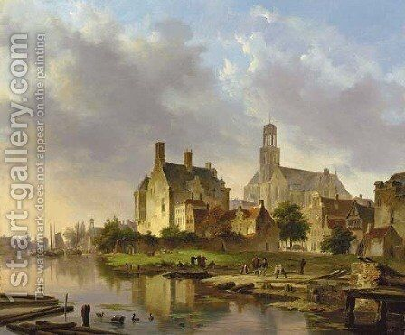 A riverside town by Bartholomeus Johannes Van Hove - Reproduction Oil Painting