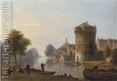 Figures by a Dutch canal by Bartholomeus Johannes Van Hove - Reproduction Oil Painting