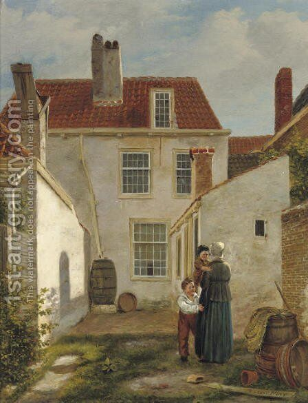 In the court yard by Bartholomeus Johannes Van Hove - Reproduction Oil Painting