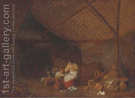A barn interior with a woman and children peeling onions, earthenware pots, carrots, onions and a cabbage nearby by Bartholomeus Molenaer - Reproduction Oil Painting