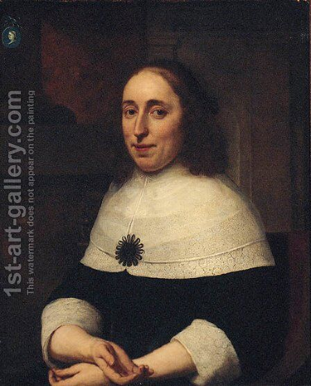 Portrait of a lady, seated half-length, in a black dress, on a terrace, a cameo on a column above by Bartholomeus Van Der Helst - Reproduction Oil Painting
