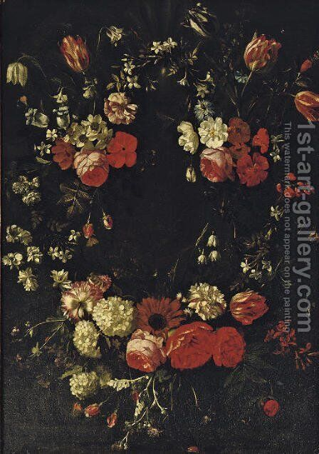 A garland of roses, tulips, violets and other flowers by Bartholomeus Van Winghen - Reproduction Oil Painting