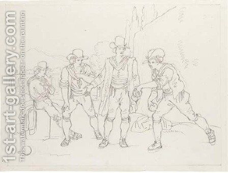 Four men playing boules by Bartolomeo Pinelli - Reproduction Oil Painting