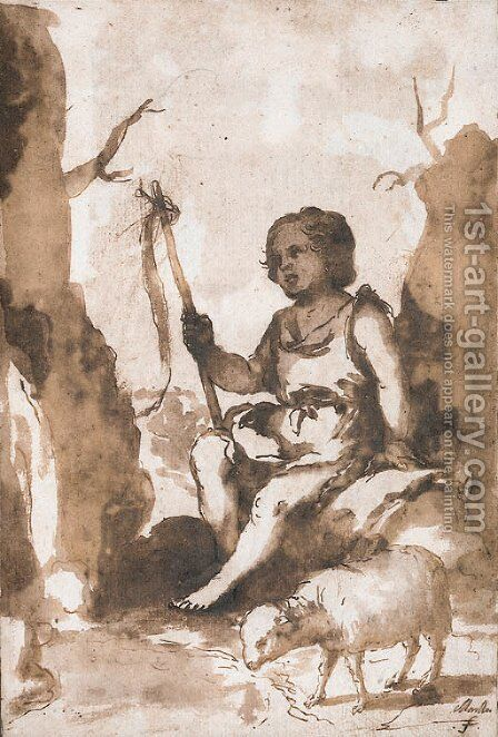 The Infant Baptist seated on a rock with a lamb by Bartolome Esteban Murillo - Reproduction Oil Painting