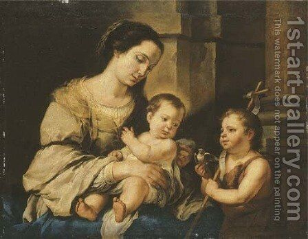 The Virgin and Child with the Infant Saint John the Baptist by Bartolome Esteban Murillo - Reproduction Oil Painting