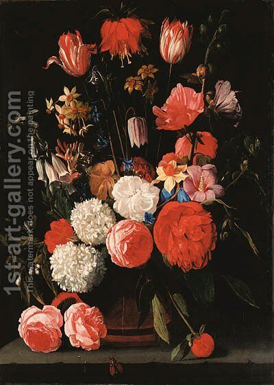 Roses, parrot tulips, narcissi, dahlias and other flowers in a vase on a stone shelf by Bartolome Van Winghe - Reproduction Oil Painting