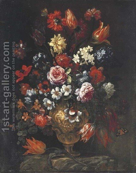 Tulips, roses, poppies, chrysanthemums, hyacinths and other flowers with butterflies in a sculpted vase on a ledge by Bartolommeo Bimbi - Reproduction Oil Painting