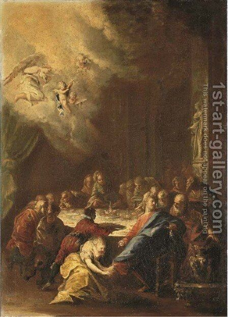 Christ in the House of Simon the Pharisee by Domenico Guidobono - Reproduction Oil Painting