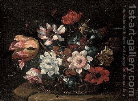A tulip, morning glory, roses and other flowers in a wicker basket on a stone ledge by Bartolomeo Ligozzi - Reproduction Oil Painting