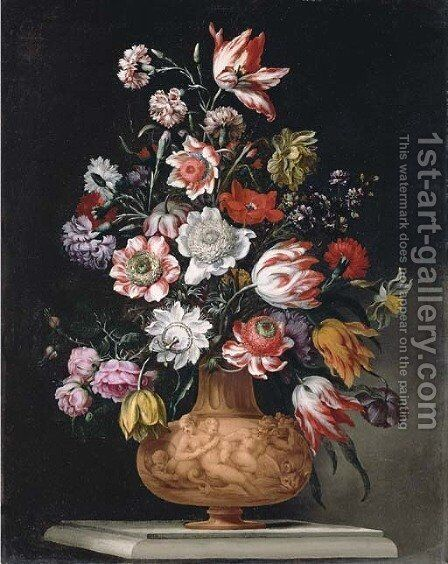 Tulips, roses and carnations and a narcissus in a sculped urn on a stone ledge by Bartolomeo Ligozzi - Reproduction Oil Painting