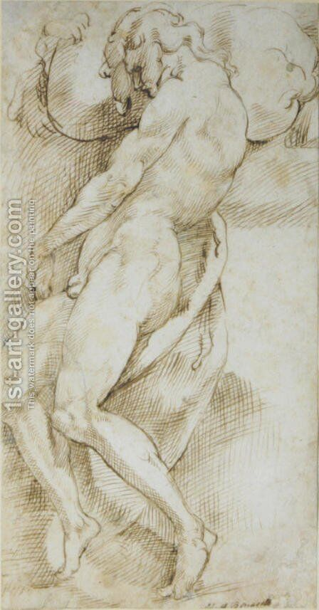 A nude man carrying a boulder by Bartolomeo Passarotti - Reproduction Oil Painting