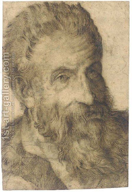 Portrait of a bearded man looking to the right, said to be Pellegrino Tibaldi by Bartolomeo Passarotti - Reproduction Oil Painting