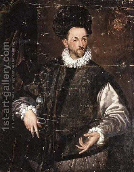 Portrait of Constantius de Ballis, three-quarter-length, in a black doublet, his right hand resting on the pummel of his sword by Bartolomeo Passarotti - Reproduction Oil Painting