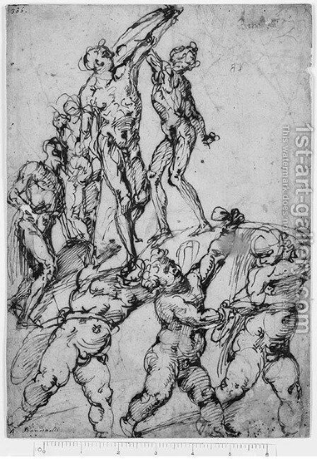 Studies of Nudes and Putti by Bartolomeo Passarotti - Reproduction Oil Painting