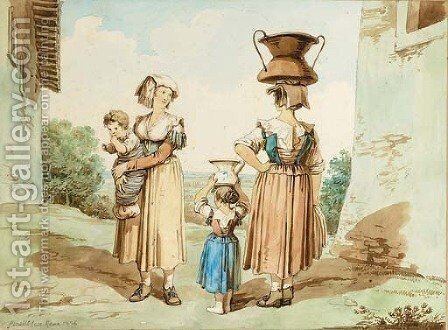Italian peasants carrying water by Bartolomeo Pinelli - Reproduction Oil Painting