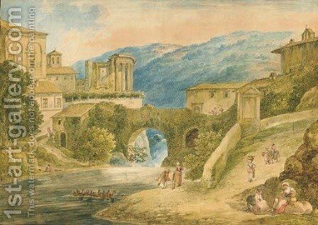 Tivoli with the Temple of Vesta, figures in the foreground by Bartolomeo Pinelli - Reproduction Oil Painting