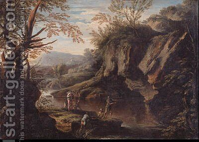 A Gorge with Peasants fishing and Bandits by Bartolomeo Torreggiani - Reproduction Oil Painting