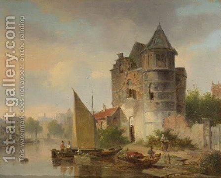 Villagers unloading cargo vessels on a river by a fortified mansion by Bartholomeus Johannes Van Hove - Reproduction Oil Painting