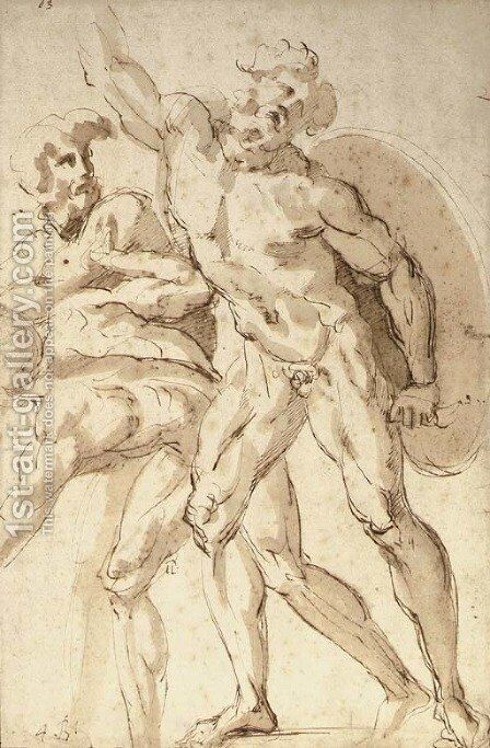 A nude warrior with a shield reaching up to the left, two crouching nudes to the left by Baccio Bandinelli - Reproduction Oil Painting