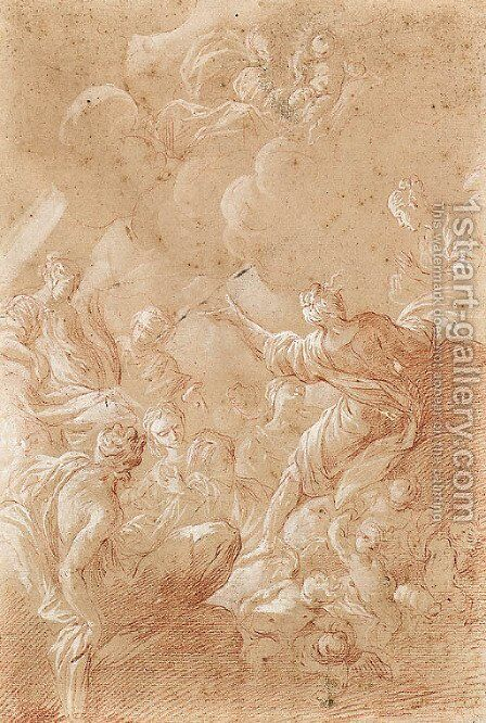 The Madonna and Child appearing to female Saints seated on Clouds with Putti by Bartolomeo Biscaino - Reproduction Oil Painting