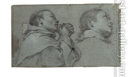 The head and shoulders of a Dominican monk in prayer turned to the right by Bartolommeo Cesi - Reproduction Oil Painting