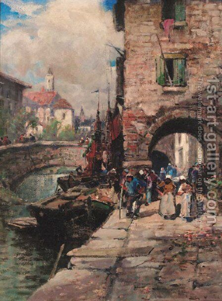 Figures on a quay by Bartram Hiles - Reproduction Oil Painting