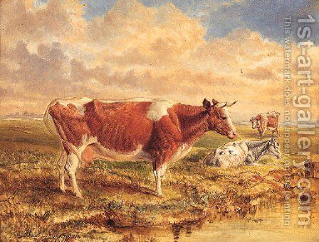 Cattle Resting In An Extensive River Landscape by Basil J. Nightingale - Reproduction Oil Painting