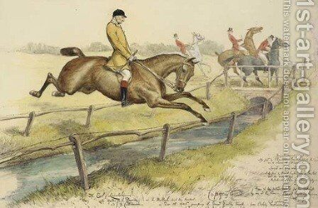 Lord Lonsdale jumping the Great Dalby Brook by Basil J. Nightingale - Reproduction Oil Painting