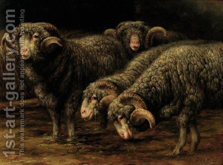 Ewes grazing by Bela Pallik - Reproduction Oil Painting